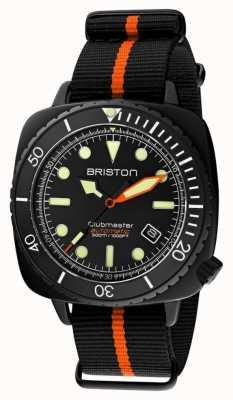 Briston Clubmaster diver pro | cinturino nero / arancione nato quadrante nero 20644.PBAM.B.35.NBO