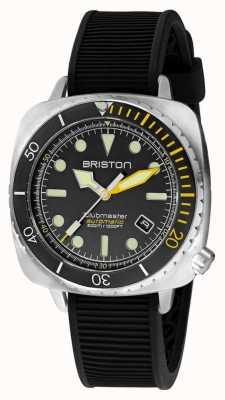 Briston Clubmaster diver pro steel | cinturino in caucciù nero | quadrante nero 20644.S.DP.34.RB