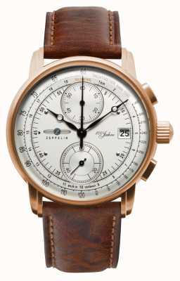 Zeppelin Cronografo da uomo | 100 anni | cinturino in pelle marrone 8672-1