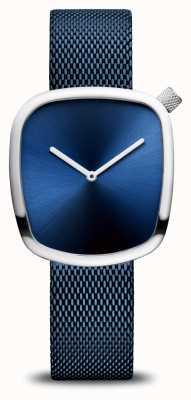 Bering Classico | ghiaia | cinturino in rete blu | quadrante blu 18034-307