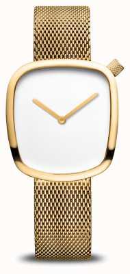 Bering Classico | ghiaia | bracciale a maglie d'oro | quadrante bianco 18034-364