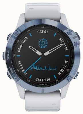 Garmin Fenix 6 pro solar | cinturino in caucciù bianco minerale blu titanio 010-02410-19