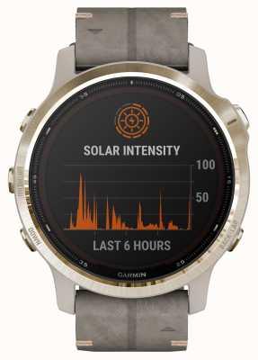 Garmin Fenix 6s pro solar | cinturino in camoscio grigio scisto oro chiaro 010-02409-26