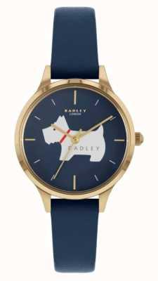 Radley Luogo Meridan | cinturino in pelle blu | quadrante motivo cane RY2974