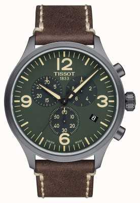 Tissot Chrono xl | quadrante verde | cinturino in pelle marrone T1166173609700