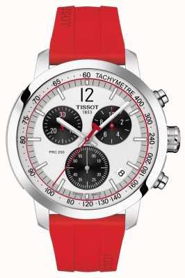 Tissot Prc 200 | cronografo | quadrante argento | cinturino in caucciù rosso T1144171703702
