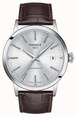Tissot | swissmatic | quadrante argento | cinturino in pelle marrone | T1294071603100