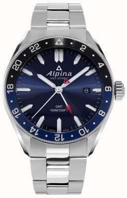 Alpina Quarzo alpiner gmt | quadrante blu | bracciale in acciaio inossidabile AL-247NB4E6B