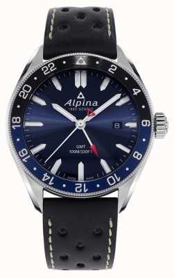 Alpina Quarzo alpiner gmt | quadrante blu | cinturino in pelle nera AL-247NB4E6