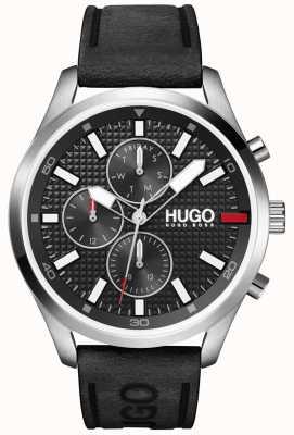 HUGO #Chase uomo | quadrante nero | orologio con cinturino in pelle nera 1530161