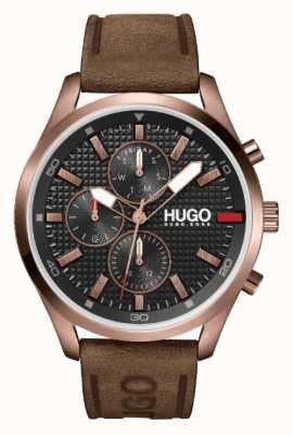 HUGO IP oro rosa #chase uomo | quadrante nero | orologio con cinturino in pelle marrone 1530162