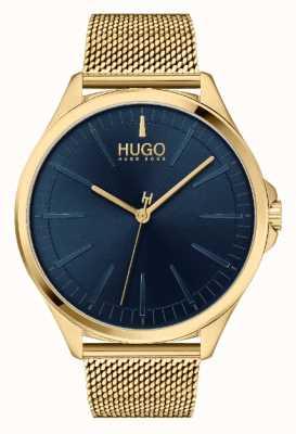 HUGO #Smash casual da uomo | quadrante blu | bracciale in oro ip mesh 1530178
