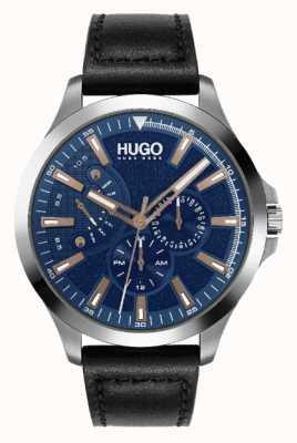 HUGO #Leap maschile | quadrante blu | accento oro rosa | orologio con cinturino in pelle nera 1530172