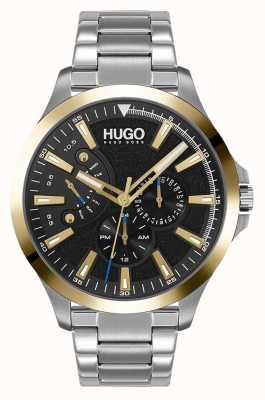 HUGO #leap casual | quadrante nero | bracciale in acciaio inossidabile 1530174