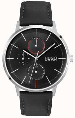 HUGO #exist | quadrante nero | multifunzionale | orologio con cinturino in pelle nera 1530169