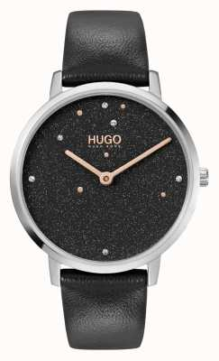HUGO Ladies #dream business | quadrante nero swarovski | cinturino in pelle nera 1540068