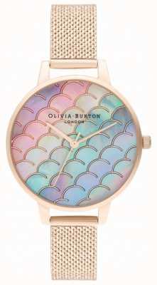 Olivia Burton Orologio a sirena con quadrante demi quadrante in oro rosa con maglie bouclé OB16US45