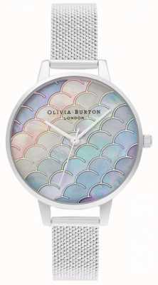 Olivia Burton Orologio a sirena con quadrante demi quadrante argento maglia a maglie bouclé OB16US46