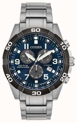 Citizen Orologio Brycen super titanio con calendario perpetuo con quadrante blu BL5558-58L