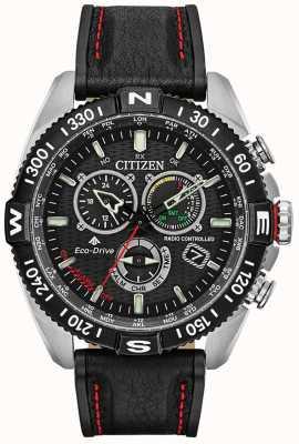 Citizen Mens promaster navihawk radiocontrollato a chrono quadrante nero in pelle nera CB5841-05E