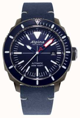 Alpina Seastrong diver 300 automatico | cinturino in pelle blu navy | AL-525LNN4TV6