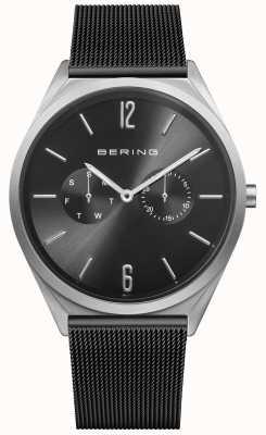 Bering Ultra sottile | cinturino in maglia di acciaio nero quadrante nero 17140-102