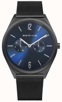 Bering Ultra sottile | bracciale in maglia di acciaio nero | quadrante blu 17140-227