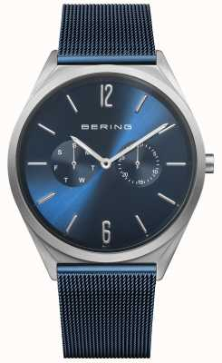 Bering Ultra sottile | cinturino in maglia di acciaio blu | quadrante blu 17140-307