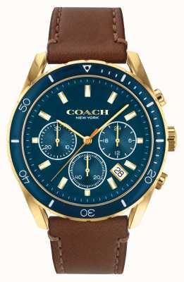 Coach Preston uomo | cinturino in pelle marrone | quadrante blu 14602513