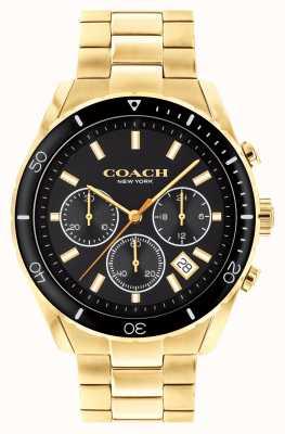 Coach Preston uomo | bracciale in acciaio placcato oro | quadrante nero 14602517