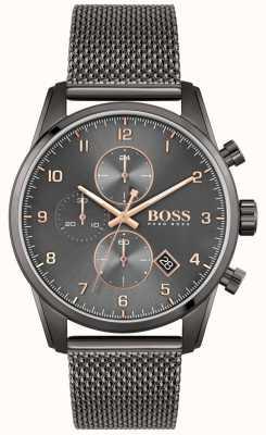 BOSS Skymaster sport lux | braccialetto in rete ip nero | quadrante nero 1513837