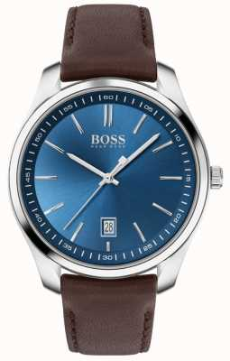 BOSS Circuit sport lux | cinturino in pelle marrone | quadrante blu 1513728