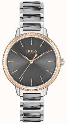 BOSS Firma delle donne | bracciale in acciaio bicolore | quadrante grigio 1502569