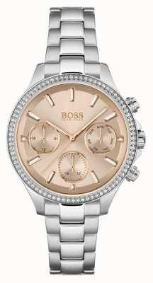 BOSS Hera da donna | bracciale in acciaio inossidabile | quadrante rosa 1502565