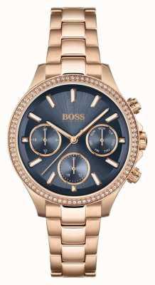 BOSS Hera da donna | bracciale in acciaio oro rosa | quadrante blu 1502566