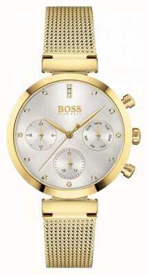 BOSS Impeccabile da donna | bracciale in maglia placcato oro | quadrante argentato 1502552