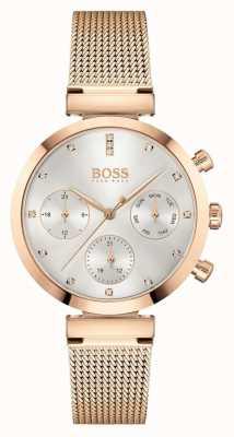 BOSS Impeccabile da donna | bracciale in maglia oro rosa | quadrante argentato 1502553