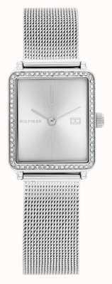 Tommy Hilfiger Tè delle donne | bracciale in maglia d'acciaio | quadrante quadrato argento | 1782294