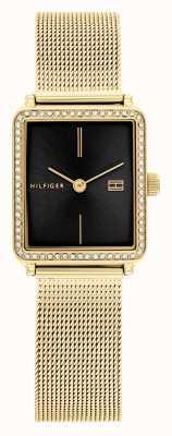 Tommy Hilfiger Tè delle donne | bracciale in maglia placcato oro | quadrante quadrato nero 1782295