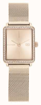 Tommy Hilfiger Tè delle donne | cinturino in maglia oro rosa | quadrante quadrato rosa 1782293