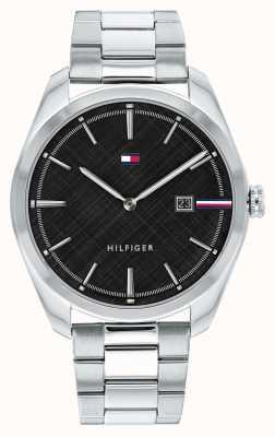 Tommy Hilfiger Theo maschile | bracciale in acciaio inossidabile argento | quadrante nero 1710440