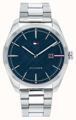 Tommy Hilfiger Theo maschile | bracciale in acciaio inossidabile argento | quadrante blu 1710426