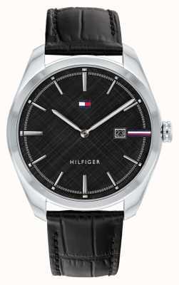 Tommy Hilfiger Theo maschile | cinturino in pelle nera | quadrante nero 1710439