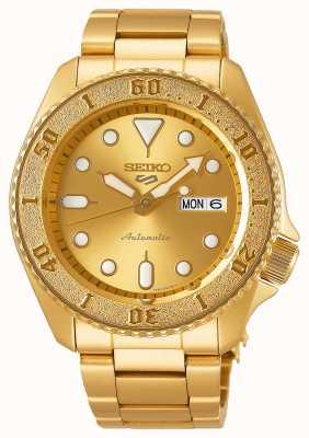 Seiko Quadrante in oro con cinturino in oro da uomo 5 sport SRPE74K1