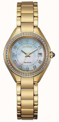 Citizen Orologio da donna in madreperla con ip, cristallo e oro EW2552-50D
