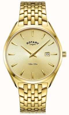 Rotary Ultra slim da uomo | bracciale in acciaio placcato oro | quadrante in oro GB08013/03
