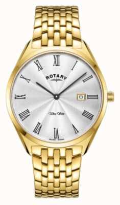 Rotary Ultra slim da uomo | bracciale in acciaio placcato oro | quadrante argentato GB08013/01
