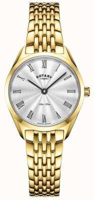 Rotary Ultra slim da donna | orologio in acciaio placcato oro | quadrante argentato LB08013/01