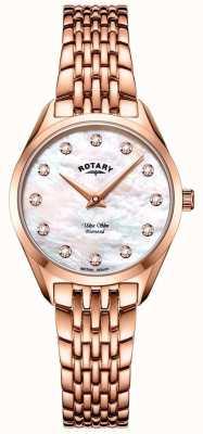 Rotary Orologio da donna ultra sottile con bracciale in oro rosa LB08014/41/D