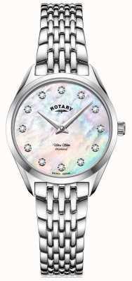 Rotary Ultra slim da donna | bracciale in acciaio inossidabile | quadrante in madreperla con diamanti LB08010/07/D